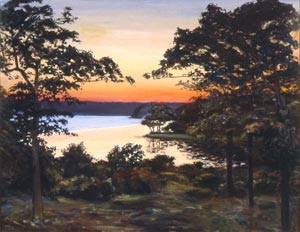 Sunset over Georgica Pond, 1985, Oil on Canvas